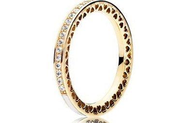 PANDORA Ring, 14k Radiant Hearts of PANDORA, Silver Enamel & Clear CZ - Size 54