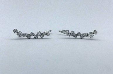 14k White Gold 0.42ctw Diamond Ear Climber Earrings