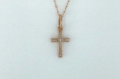 "14k Rose Gold .05ctw Diamond MIni Cross Necklace 18"""
