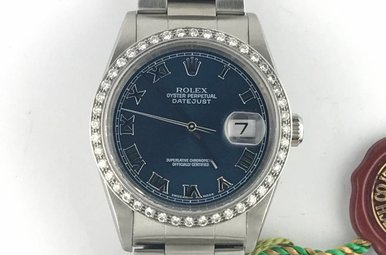 Rolex Date Just Blue Roman Numeral Dial with 18K White Gold 1ctw Diamond Bezel Stainless Watch