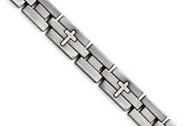 "STAINLESS STEEL 8.5"" BRUSHED GENTS CROSS BRACELET"