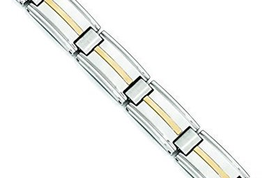 "STAINLESS STEEL & 14KY 8.75"" GENTS LINK BRACELET"