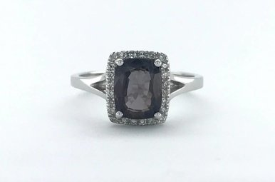 14k White Gold .12ctw Diamond Halo 1.80ct Spinel Ring (Size 7)