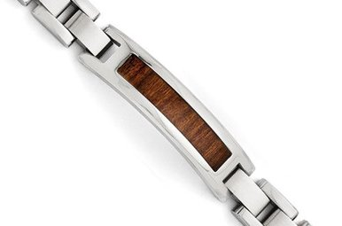 "STAINLESS STEEL & WOOD 8.5"" GENTS LINK BRACELET"