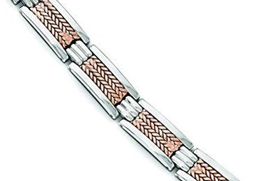 "STAINLESS STEEL 8.5"" GENTS LINK BRACELET WITH ROSE IP-PLATING"