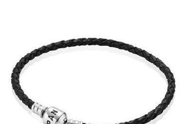 PANDORA Bracelet Black Leather 19 cm / 7.5 in