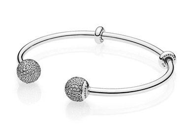 PANDORA Open Bangle, Sterling Silver End Caps Clear CZ & Stoppers - 16 cm