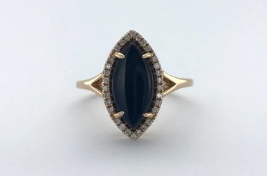 14k Rose Gold .15ctw Diamond Halo Marquise Black Onyx Ring (Size 7