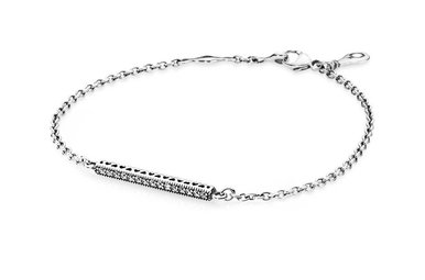 PANDORA Bracelet Hearts of PANDORA, Clear CZ - 18 cm / 7.1 in