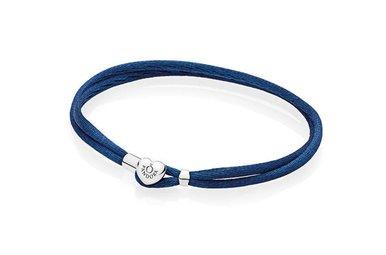 PANDORA Double Fabric Cord Bracelet in Dark Blue with Heart-Shaped Lock - 19.5 cm / 7.7 in