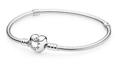 PANDORA Bracelet Sterling Silver, Heart Clasp - 20 cm / 7.9 in