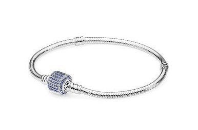 PANDORA Bracelet Sterling Silver with Royal-Blue Crystal Pave' Clasp - 21 cm / 8.3 in