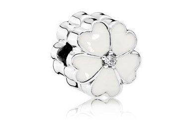 PANDORA Clip, White Primrose, White Enamel & Clear CZ