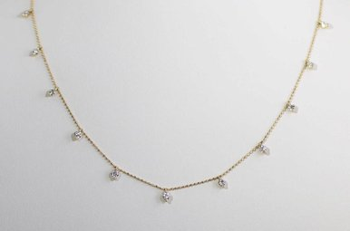 14KY .85CTW ADJUSTABLE ROUND BRILLIANT DIAMOND NECKLACE