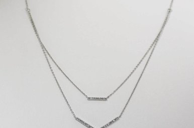 STERLING SILVER .10CTW DIAMOND CHEVRON NECKLACE