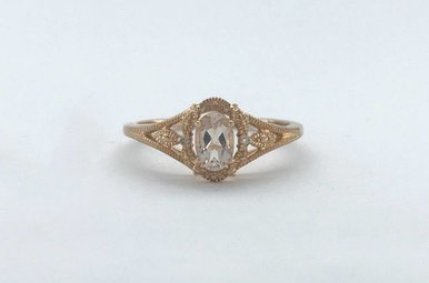 14k Rose Gold .50ctw Diamond Halo Morganite Vintage Ring (Size 7)