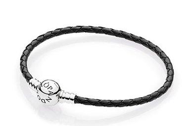 PANDORA Black Leather Bracelet, Sterling Silver - 19 cm / 7.5 in