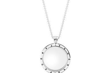 PANDORA Floating Locket with Sapphire Crystal Glass Sterling silver - 75 cm