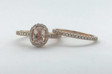14k Rose Gold 1.10ctw Diamond Halo Morganite Engagement Ring Set (Size 6)