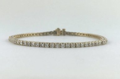 "14k Yellow Gold 3.00ctw Diamond Tennis Bracelet 7.5"""