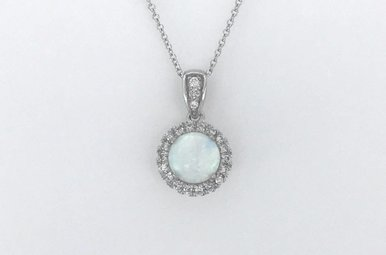 14k White Gold 1/8ctw Diamond Halo Created Opal Pendant Necklace 18""