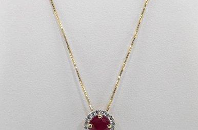 14KY 1/7CTW-DIA 1CT-RU RUBY & DIAMOND HALO PENDANT
