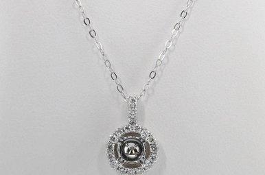 14KW .37CTW DIAMOND HALO SEMI MOUNT PENDANT