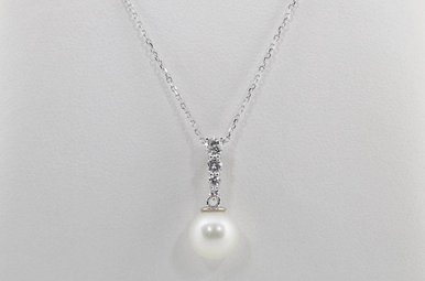 14KW .16CTW 7MM PEARL & DIAMOND PENDANT
