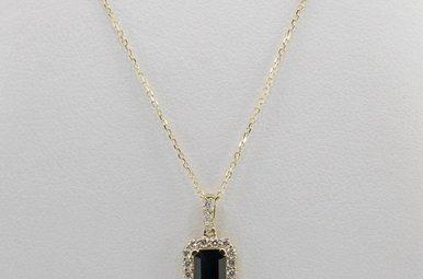 14KY .16CTW-DIA .53CT-SA BLUE SAPPHIRE & DIAMOND HALO PENDANT