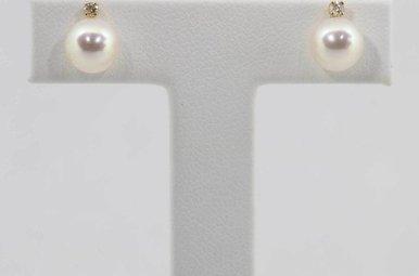 14KY 7.5-8MM PEARL & DIAMOND STUD EARRINGS