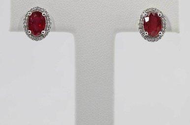 14KW .12CTW-DIA 2.1CTW-RU RUBY & DIAMOND HALO STUD EARRINGS