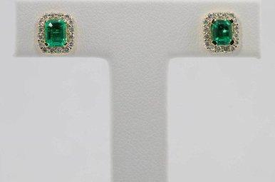 14KY .28CTW-DIA .78CTW-EM EMERALD & DIAMOND HALO STUD EARRINGS