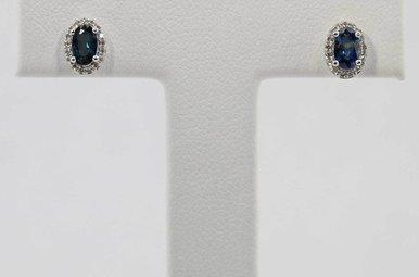 14KW .08CTW-DIA .63CTW-SA BLUE SAPPHIRE & DIAMOND HALO STUD EARRINGS