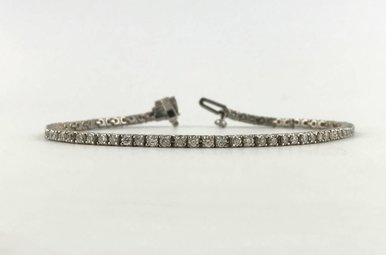 14k White Gold 2.18ctw Diamond Tennis Bracelet 7""