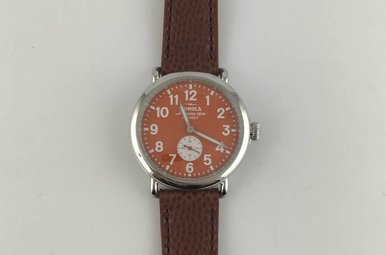 Shinola Runwell Sub Second 41mm, Polished Stainless, Orange Dial Brown Football Leather Strap Watch