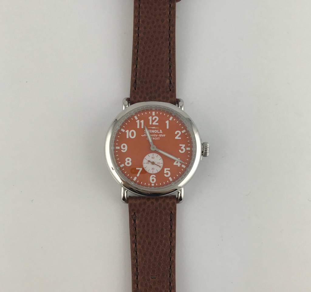 Brentwood Shinola Runwell Sub Second 41mm, Polished Stainless, Orange Dial Brown Football Leather Strap Watch