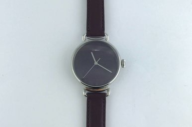 Shinola Canfield 38mm Stainless Steel, Plum Dial, Plum Signature Leather Strap Watch