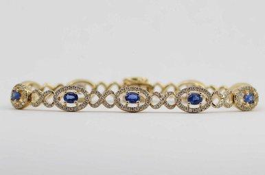 14KY 1.32CTW-DIA 2.2CTW-SA BLUE SAPPHIRE & DIAMOND LADIES BRACELET