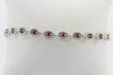 14KW 1.64CTW RUBY & DIAMOND LADIES BRACELET