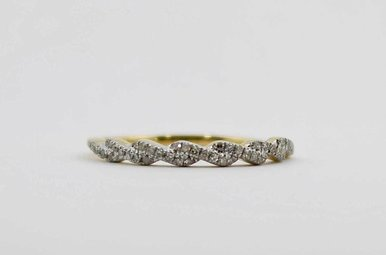 14KY .12CTW DIAMOND STACKABLE TWISTED LADIES WEDDING BAND