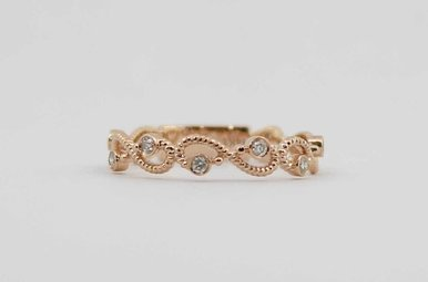 14KR .12CTW DIAMOND STACKABLE INFINITY LADIES WEDDING BAND