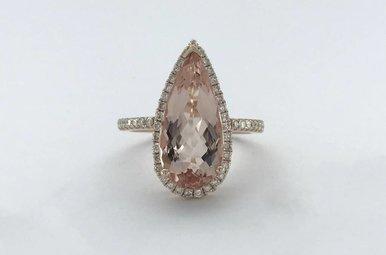 14k Rose Gold 4ct Pear Morganite .41ctw Diamond Halo Ring (Size 7)