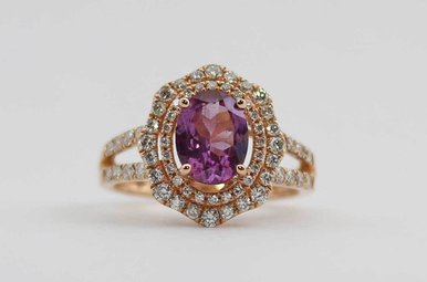 14KR .86CTW-DIA 1.47CT-RH RHODOLITE & DIAMOND LADIES DOUBLE HALO RING