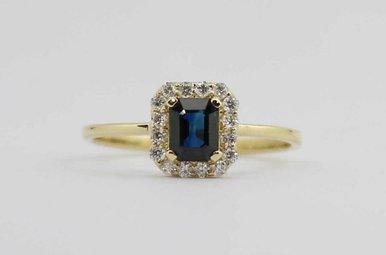 14KY .14CTW-DIA .55CT-SA BLUE SAPPHIRE & DIAMOND LADIES HALO RING