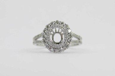 14KW .80CTW DIAMOND DOUBLE HALO SEMI MOUNT ENGAGEMENT RING