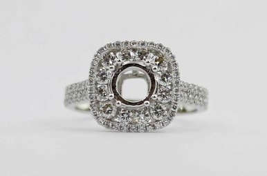 14KW 1.08CTW DIAMOND DOUBLE HALO SEMI MOUNT ENGAGEMENT RING