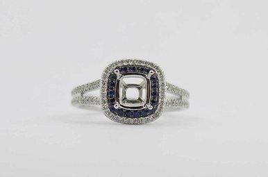 14KW .28CTW-DIA .16CTW-SA BLUE SAPPHIRE & DIAMOND DOUBLE HALO SEMI MOUNT ENGAGEMENT RING