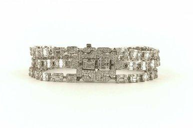 "18k White Gold 10.12ctw Diamond 3-Strand Pave Clasp Tennis Bracelet 7"""