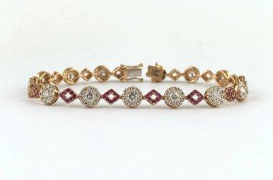 "18k Rose Gold 3.46ctw Diamond .87ctw Pink Sapphire Geometric Link Tennis Bracelet 7"""