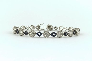 "18k White Gold 3.43ctw Diamond .82ct Blue Sapphire Geometric Link Bracelet 7"""